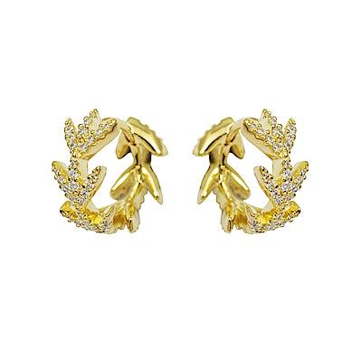 apm MONACO法國精品珠寶 閃耀金色月桂葉圈式耳環