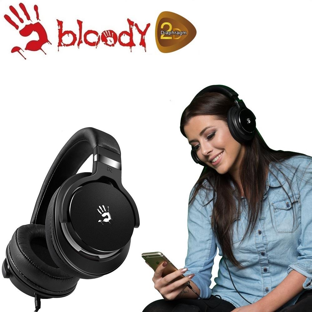 【A4 bloody】魔磁雙振膜遊戲 / 音樂耳麥-M550 BG (黑灰)