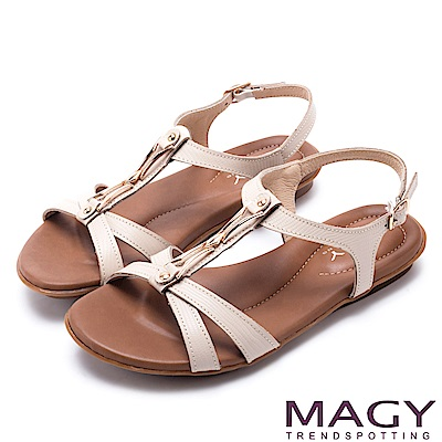 MAGY 經典剪裁 牛皮蜥蜴壓紋平底涼鞋-米色