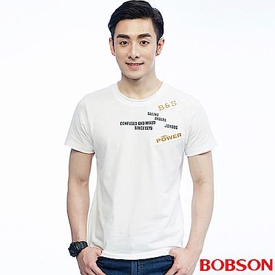 BOBSON  男款繡印字體上衣