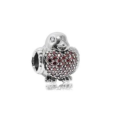 Pandora 潘朵拉 粉色鑲鋯旅鶇 純銀墜飾 串珠