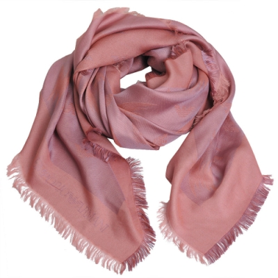 EMPORIO ARMANI 義大利製繽紛LOGO圖騰高質感薄造型圍巾(粉紅系)