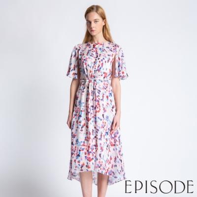 EPISODE - 輕甜幾何編織腰帶前短後長洋裝(印花粉)