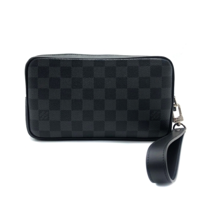 Louis Vuitton 經典 Alpha Damier 拉鍊掛腕手拿包(黑灰)