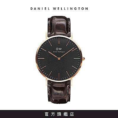 DW 手錶 官方旗艦店 40mm玫瑰金框 Classic Black 深棕真皮皮革