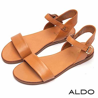 ALDO 原色真皮一字金屬繫踝釦帶涼鞋~氣質焦糖