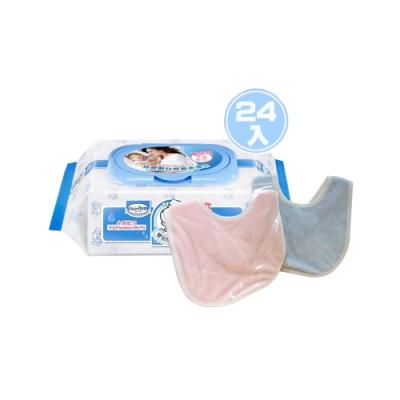 貝恩Baan NEW嬰兒保養柔濕巾80抽24入/箱+六甲村嬰兒甜心圍兜*1(顏色隨機)