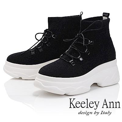 Keeley Ann 時尚潮流~厚底中筒綁帶真皮軟墊休閒鞋(黑色-Ann)