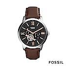 FOSSIL Townsman 皮革自動男錶-黑棕色
