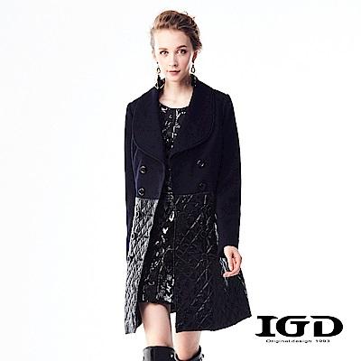 IGD英格麗 厚挺羊毛拼接菱格鋪棉造型翻領大衣-深藍