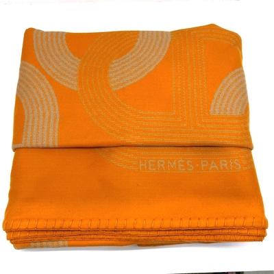 HERMES 經典豬鼻CIRCUIT 限量雙面萬用毯150*200CM(橘/米色)