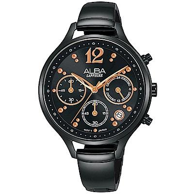ALBA雅柏 俏麗時尚計時女錶(AT3F19X1)-黑/36mm