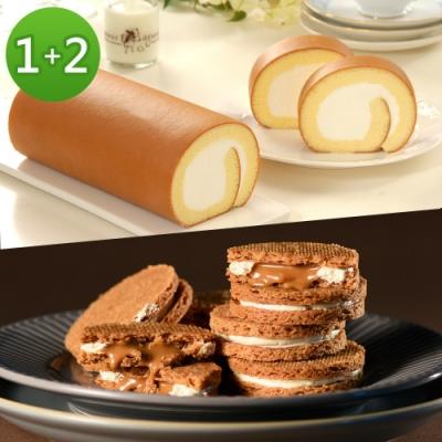 亞尼克生乳捲 經典口味+焦糖奶油夾心2盒