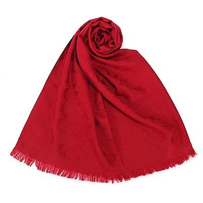 COACH 經典滿版LOGO羊毛混絲針織披肩圍巾-紅色