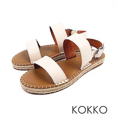 KOKKO - 涼夏牛皮後帶草編休閒平底涼鞋 - 米白