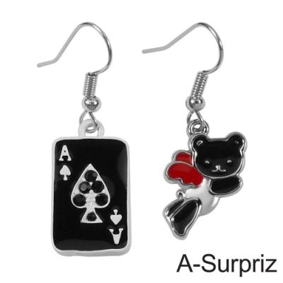 A-Surpriz 可愛小熊撲克牌耳環