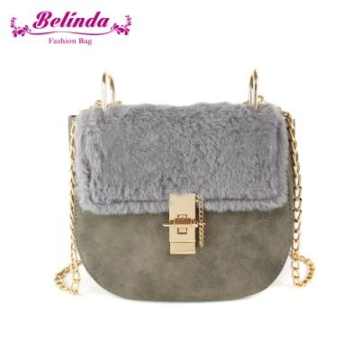 【Belinda】蔚英駱絨毛鍊條側背馬蹄包(灰色)