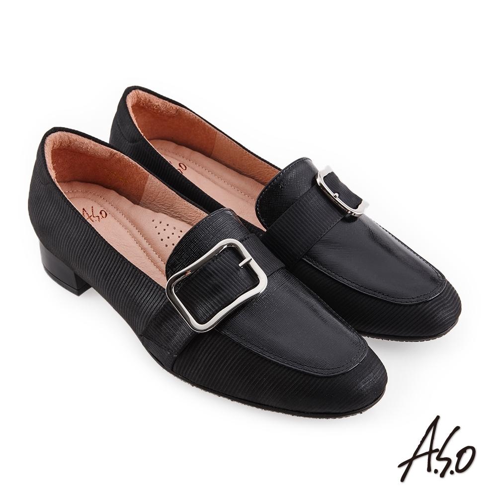 A.S.O 職場通勤 親膚嚴選異材質拼接低跟鞋-黑
