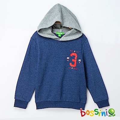 bossini男童-印花厚棉運動衫04海藍