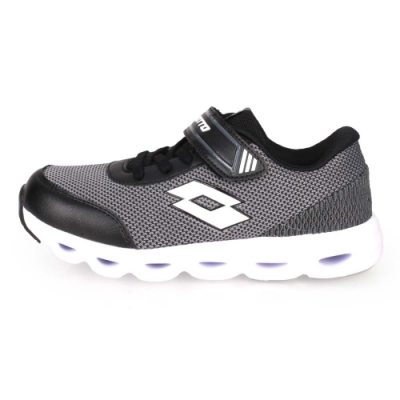 LOTTO 男女中童風動跑鞋-路跑 慢跑 黑白灰