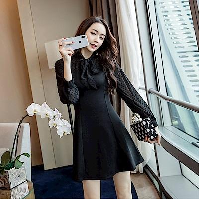 DABI 韓系雪紡袖燈籠袖蝴蝶結長袖洋裝