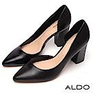 ALDO 原色真皮不對稱鞋身尖頭粗高跟鞋~尊爵黑色