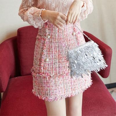 設計所在Lady-小香風短裙高腰A字裙(S-XL可選)