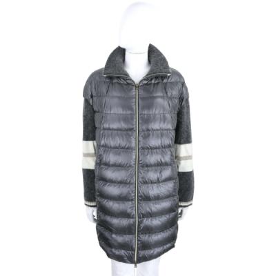 HERNO 拼接針織深灰色長版立領羽絨外套
