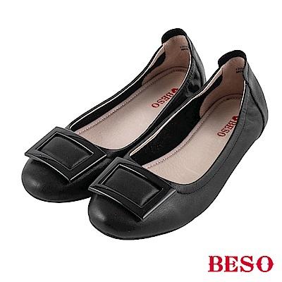 BESO 旅行女王 方釦摺疊娃娃鞋~黑