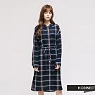 H:CONNECT 韓國品牌 女裝 - 附腰帶格紋長版襯衫-藍