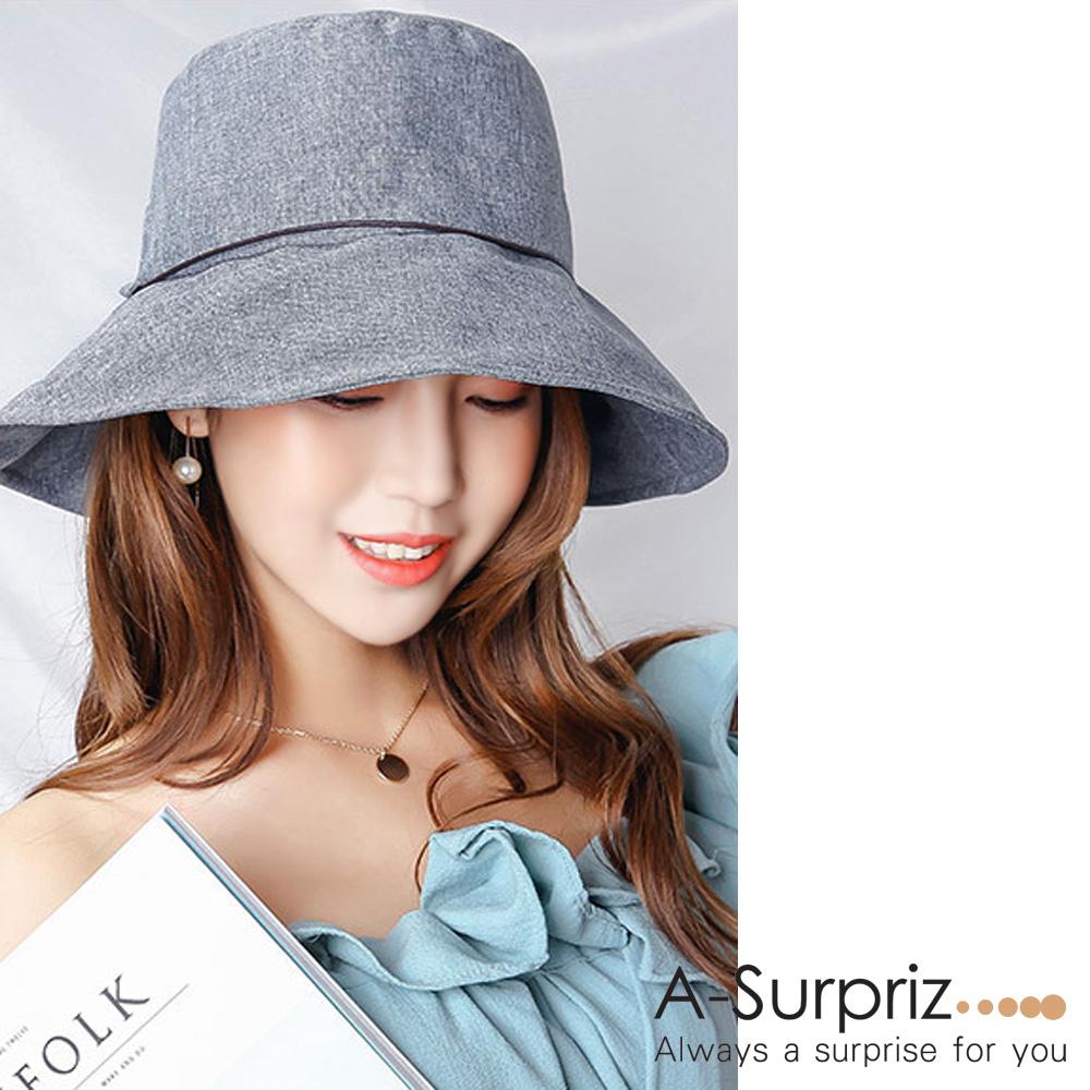 A-Surpriz 素雅圓木釦綁仿皮繩遮陽布帽(灰)