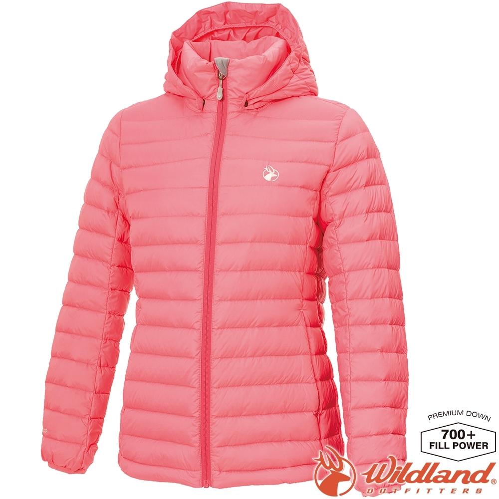 Wildland 荒野 0A72103-22蜜粉紅 女收納枕拆帽極暖鵝絨外套