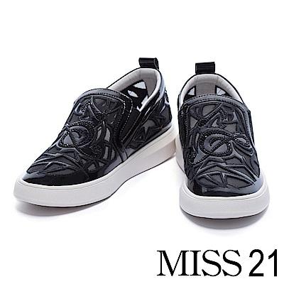 休閒鞋 MISS 21 異材質拼接透膚網布水鑽厚底休閒鞋-黑