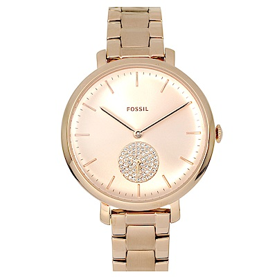 FOSSIL 美國精品手錶 JACQUELINE玫瑰金錶盤錶框金屬錶帶36mm