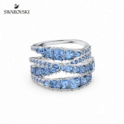 施華洛世奇 Twist Wrap 白金色螺旋曲線藍色戒指 55