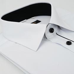 【金安德森】白色門襟黑配色窄版長袖襯衫