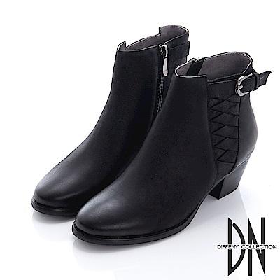 DN 摩登現代 擦色羊皮造型粗跟短靴-黑