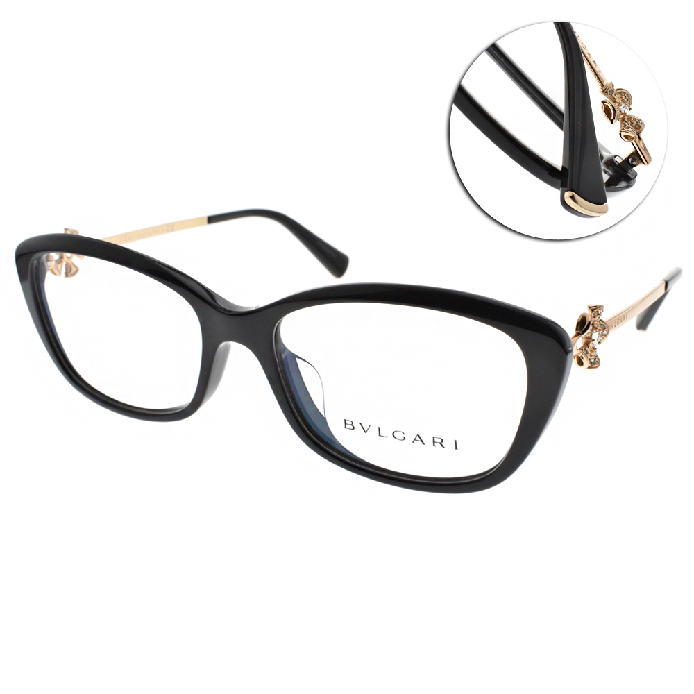 BVLGARI眼鏡 唯美花朵鑽飾/黑-金#BG4145BF 501