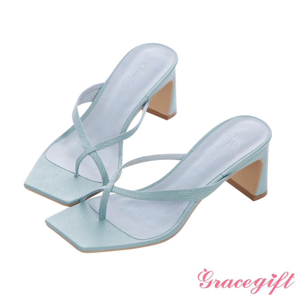 Grace gift X Annie-聯名全真皮交叉夾腳中跟涼拖鞋 霧靄淺藍