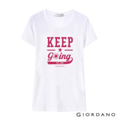 GIORDANO 女裝棉質圓領標語印花T恤- 49 標誌白