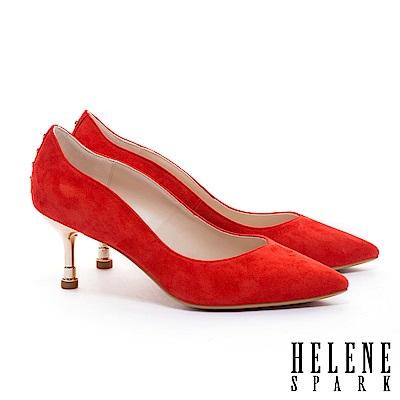 高跟鞋 HELENE SPARK 唯美氣質珍珠造型全真皮尖頭高跟鞋-紅