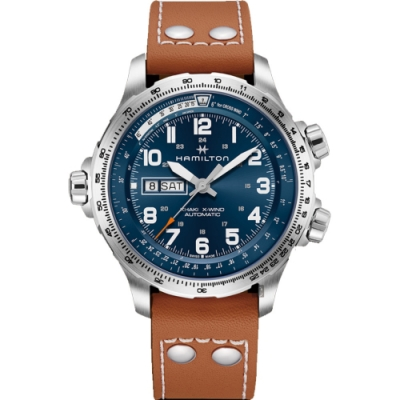 Hamilton 漢米爾頓 KHAKI X-Wind 御風者機械錶-藍x咖啡/45mm