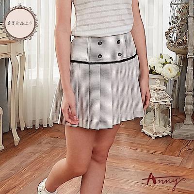 Annys安妮公主-學院風細條紋雙排扣百褶短裙*8186灰