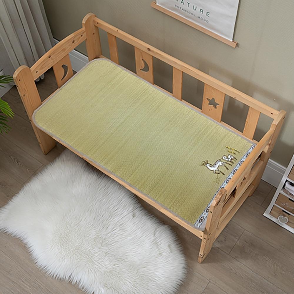 經典柔織涼感刺繡小鹿嬰兒床童蓆 草蓆 60X120CM
