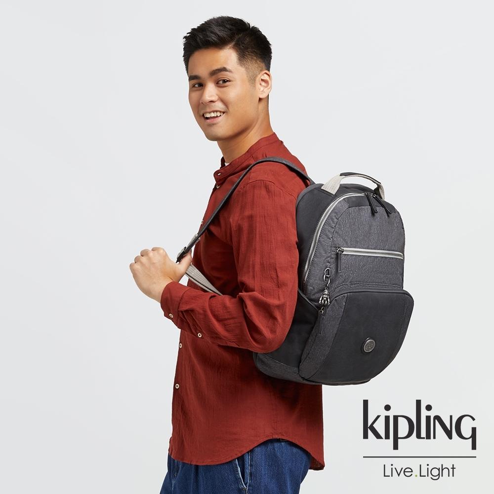 Kipling 花崗石質感灰前後雙層收納後背包-TROY