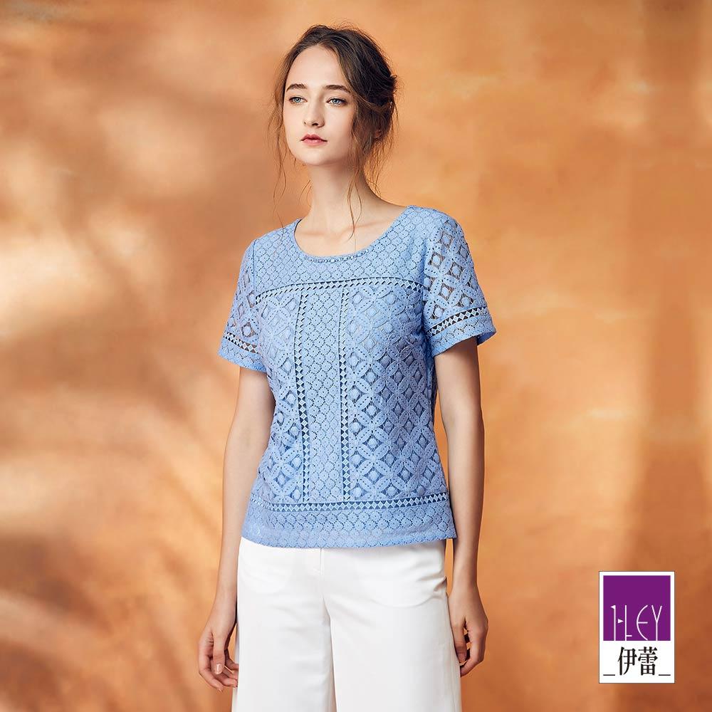 ILEY伊蕾 透氣棉質幾何花卉蕾絲上衣(藍)