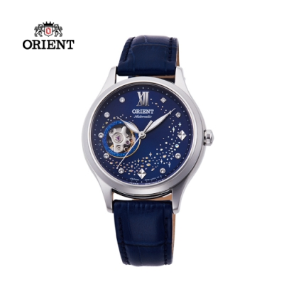 ORIENT東方錶HAPPY STREAM系列藍月奇蹟鏤空機械錶皮帶款RA-AG0018L
