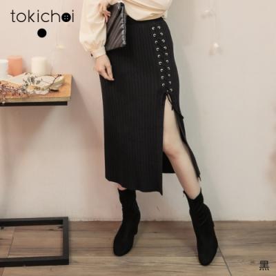 東京著衣 優雅甜美腰鬆緊坑條側綁繩開岔長裙