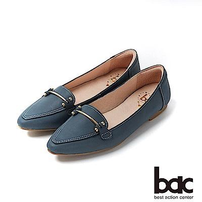 bac愛趣首爾 - 簡約尖頭不對襯車鋒線平底包鞋-藍