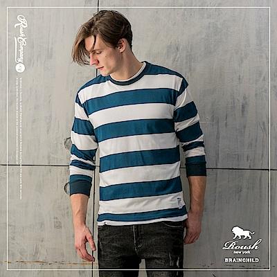 Roush 高磅數落肩設計橫紋長TEE(3色)